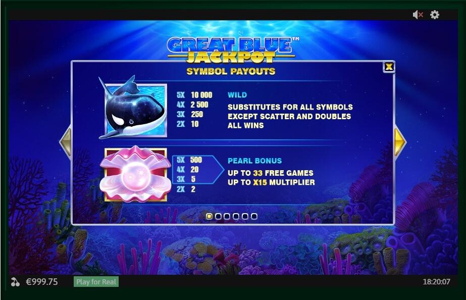 Great Blue Jackpot Slot Machine