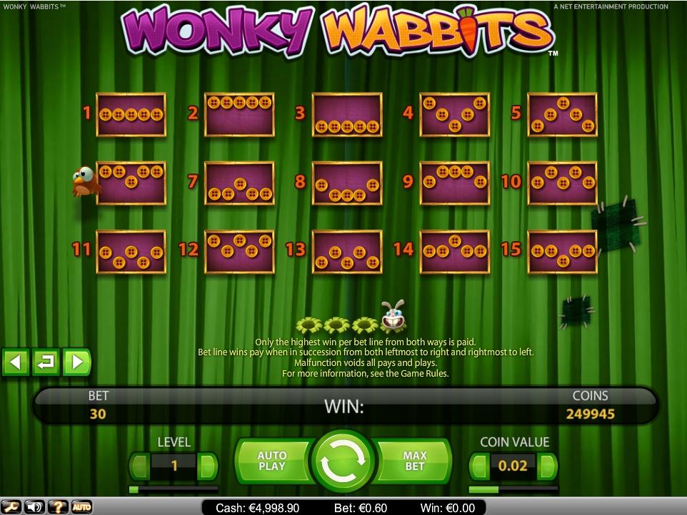 Wonky wabbits slot game